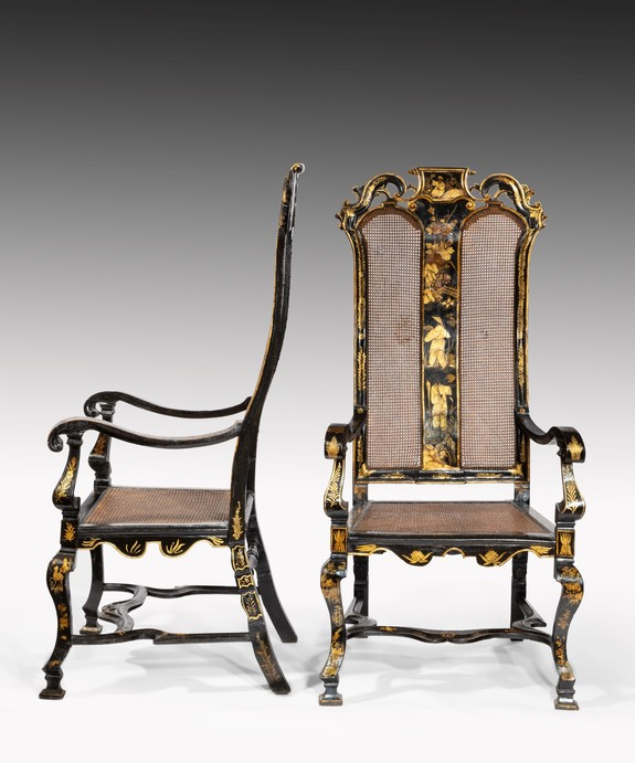 Antique pair of William III japanned and lacquered armchairs.