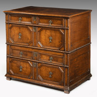 Antique Charles II oak and walnut chest of drawers