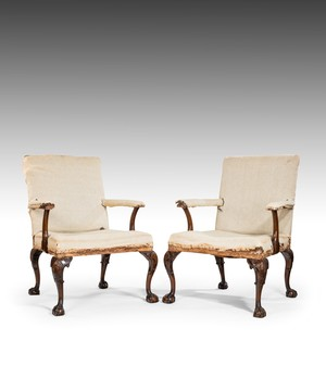 Pair of Nineteenth Century George II style Gainsborough armchairs