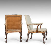 Pair of antique early Nineteenth Century carved mahogany Gainsborough library armchairs