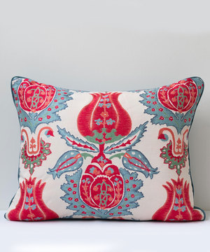 Cushion with ottoman pomegranate motif fabric with antique backing.