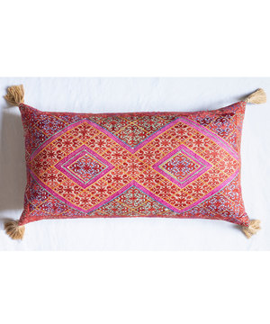 Extra large rectangular bolster cushion with antique silk embroidery