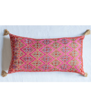 Extra large rectangular bolster cushion with antique silk embroidery and tassels
