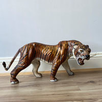 Pair of papier mache model tigers