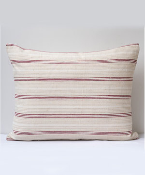 Rectangular striped antique textile cushion
