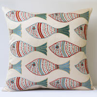 Square cushion in silk fish fabric