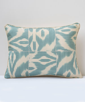 Rectangular acqua cream patchwork ikat cushion