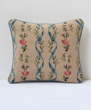 Small rectangular tapestry cushion with silk back