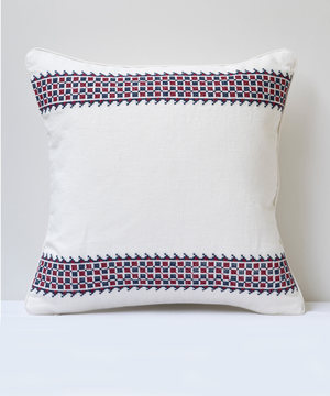 Square linen cushion with Tarsus embroidery from Susan Deliss