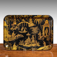 Antique Regency black and gold chinoiserie tray.
