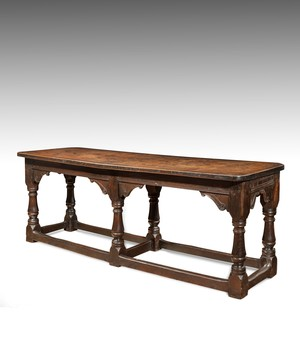 James I carved oak six leg refectory table