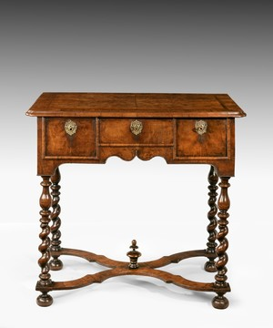 William and Mary burr yew and walnut lowboy