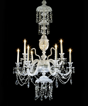 An antique cut glass chandelier.