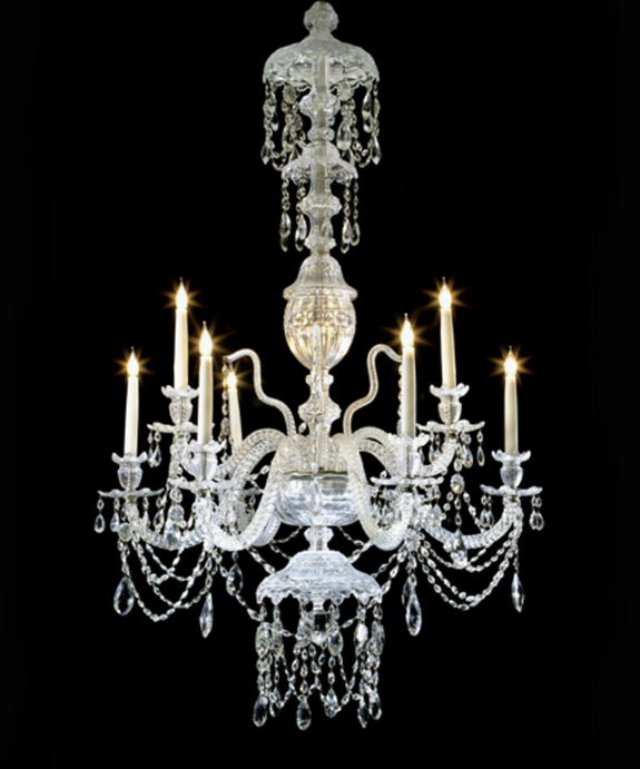 Antique glass chandelier.