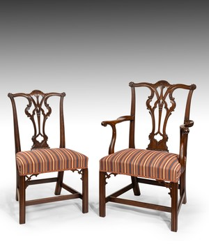 Set of eight Georgian Chippendale dining chairs