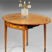 Antique Sheraton satinwood pembroke table.