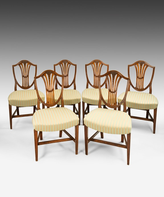 Antique set of Georgian Sheraton dining chairs