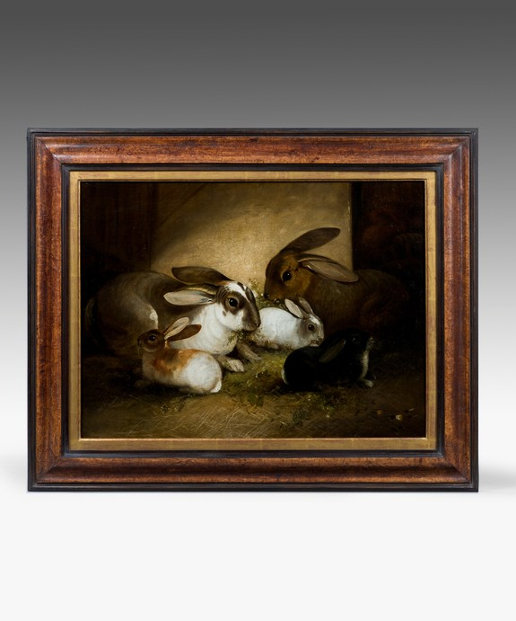 A 19th Century oil painting of rabbits. | Reindeer Antiques
