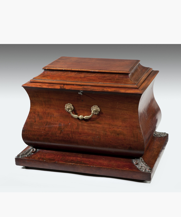 A good Regency period mahogany sarcophagus shaped wine cooler. Large Image 1