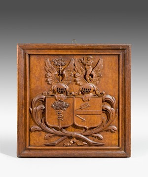 Nineteenth Century carved oak Coat of Arms