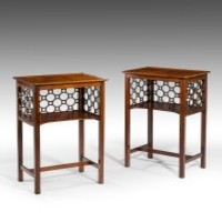 A pair of Chippendale revival night tables.