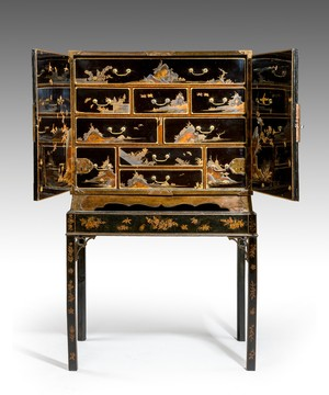 A Japanese lacquered cabinet.
