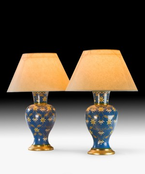 A pair of 19th Century cloisonne table lamps.
