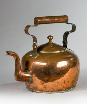 A large George II copper kettle.