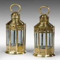 A pair of antique Georgian lanterns.