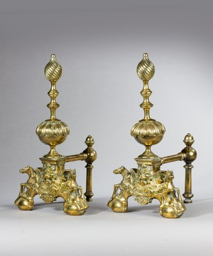 Pair of 19th Century brass andirons.