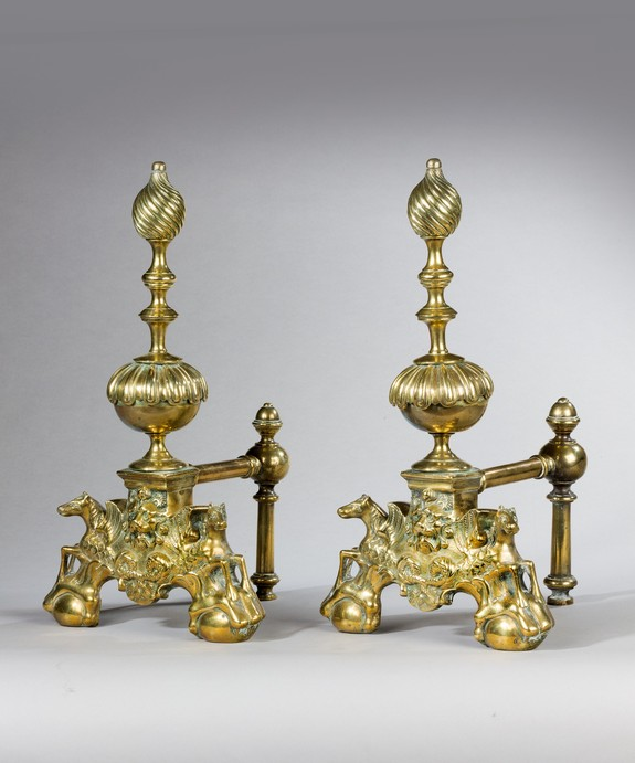 A pair of 19th Century brass andirons.