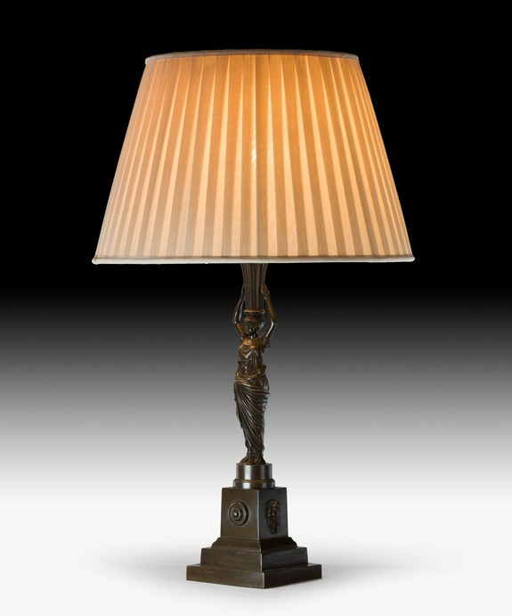 A Regency bronze table lamp.