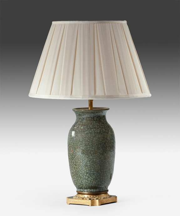 A Chinese celadon table lamp.