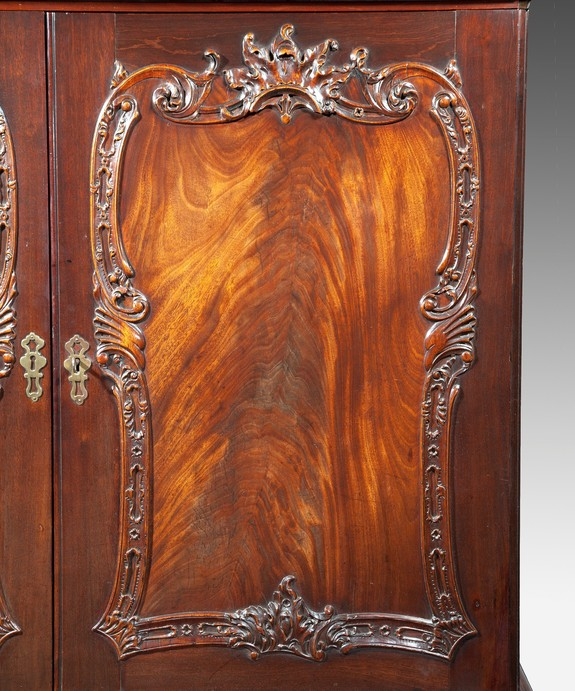 Antique Georgian Chippendale cabinet with Rococo carving