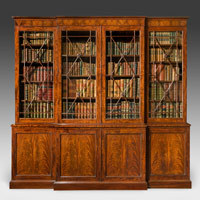 Antique Regency breakfront bookcase.