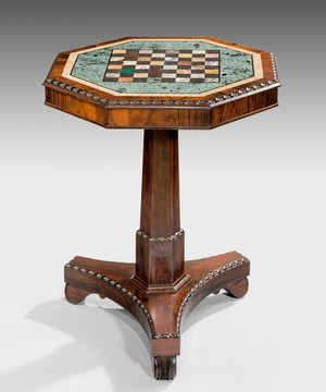 A Regency chess table.