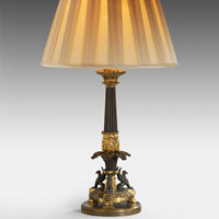 Antique bronze and ormolu table lamp.
