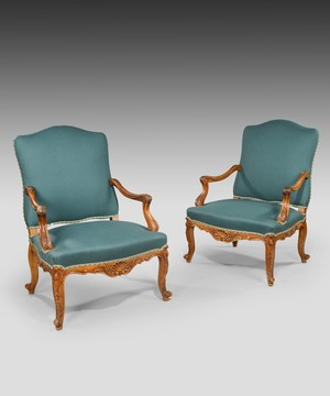 A pair of Louis XV style open armchairs.