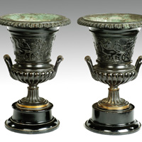 A fine pair of Regency period cast bronze urns. Thumbnail 1
