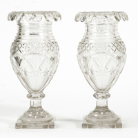 Pair of antique Irish cut glass vases.