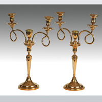 An elegant pair of late 18th Century Russian bell metal 2 branch candelabra. Thumbnail 1