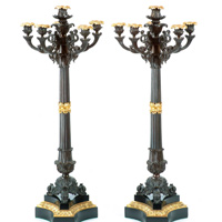 A fine pair of Regency period bronze and ormolu 6 light candelabra. Thumbnail 1