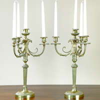 A pair of late 18th Century brass 4 branch candelabra. Thumbnail 1
