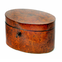 A fine Sheraton period thuya wood veneered oval tea caddy. Thumbnail 1