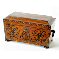 A Regency period mahogany sarcophagus shaped tea caddy. Thumbnail 1