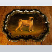 Regency Period papier mache tray decorated with a pug dog. Thumbnail 1