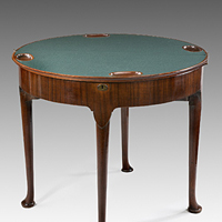 A good George II period triple-top mahogany card table. Thumbnail 1