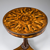 A Regency period parquetry veneered drum table. Thumbnail 1