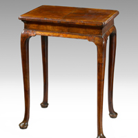 A fine Queen Anne period walnut veneered silver table. Thumbnail 1
