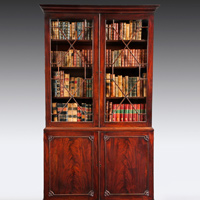 A beautifully patinated  mahogany Chippendale period 2 door bookcase. Thumbnail 1